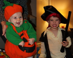baby pumpkin and toddler pirate costume