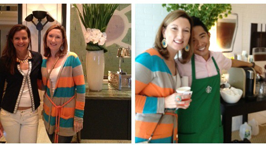 Me with Nicole from MomTrends and the totally adorable barista in the Starbucks suite
