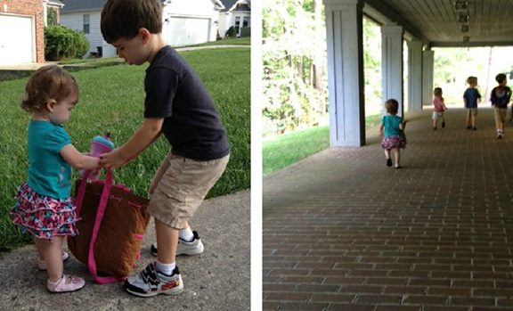 Brother helps her with her backpack; trying to catch up to the other kids.