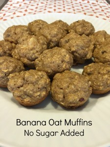 No Sugar Added Banana Oat Muffins – Recipe