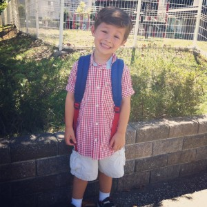 Four years old, on the first day of his last year of preschool