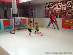 hockey rink at Marbles in Raleigh, NC