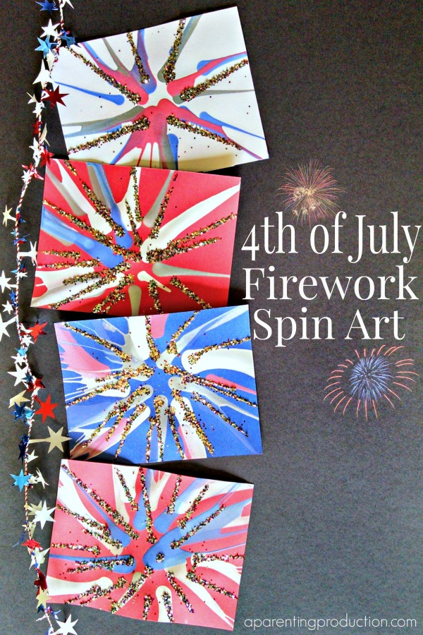 4th of july firework spin art