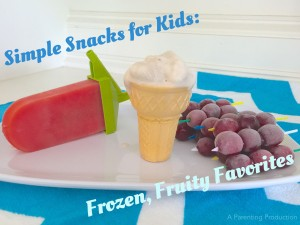 Frozen fruit snacks including watermelon popsicle, frozen banana, froozen grapes.