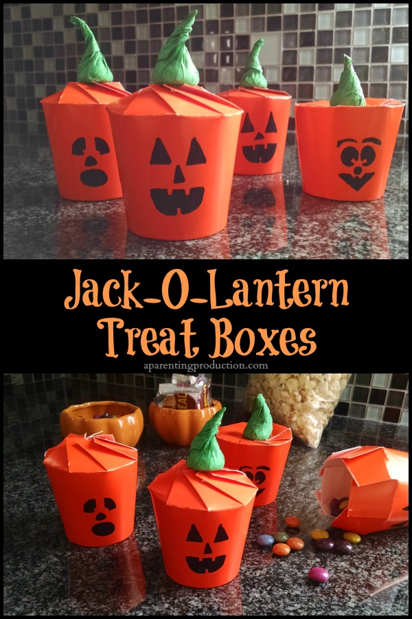 Love these adorable Halloween jack-o-lantern treat boxes!