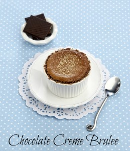Creme brulee with dark chocolate on a white saucer on a blue background