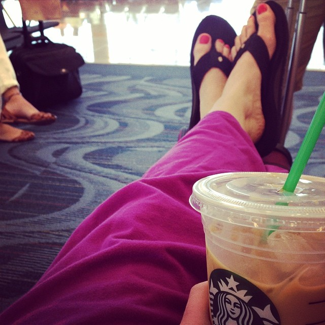 Mom Traveling with Starbucks
