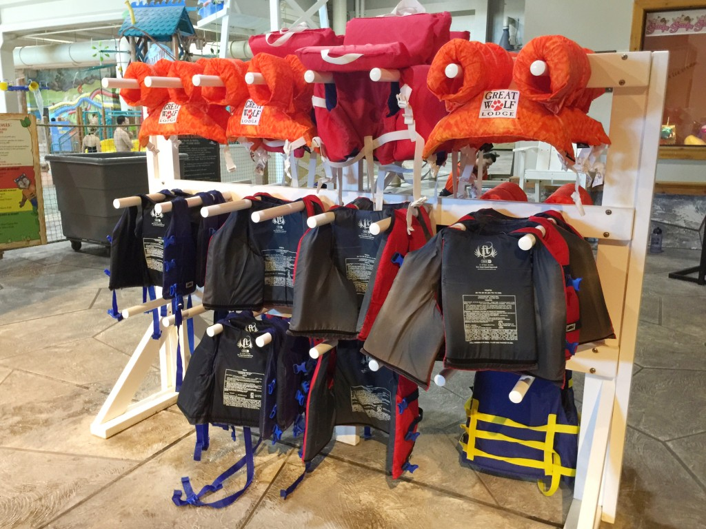 Life vest display at Great Wolf Lodge