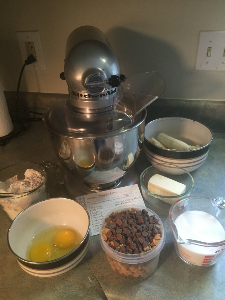 Making banana bread