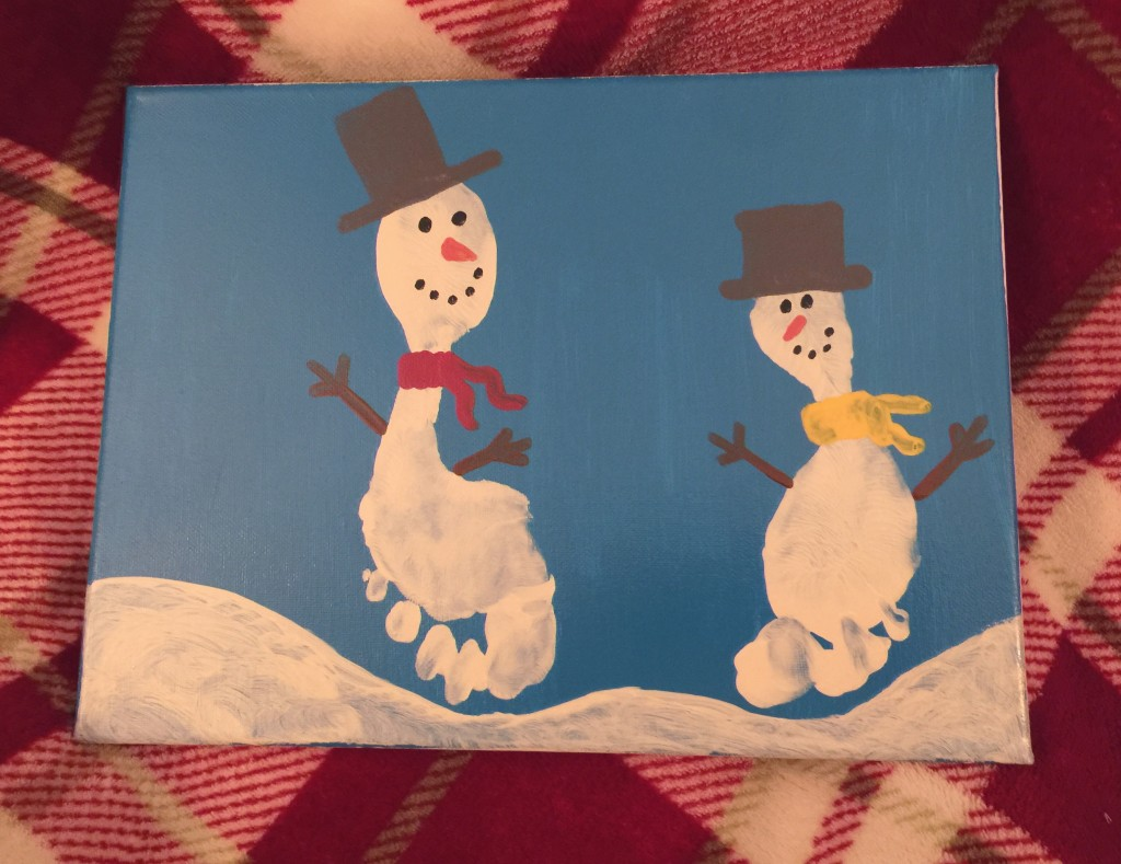 Snowman Footprint Craft - great gift idea